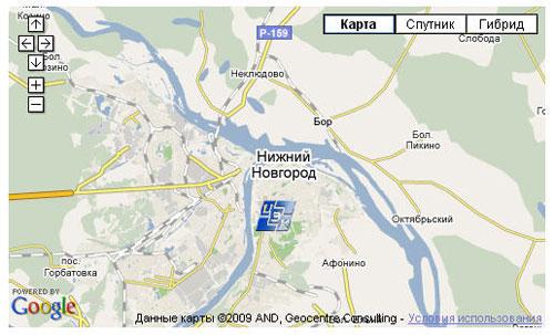 Пример карты с марером пользователя