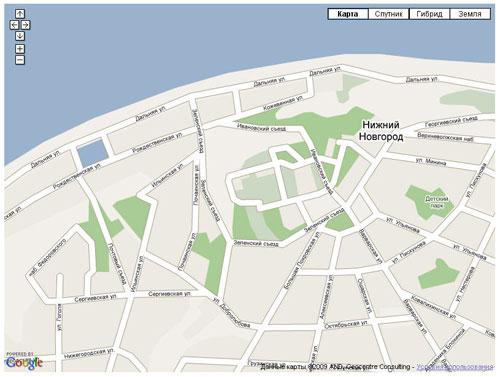 Google Earth пример карты с кнопкой Земля