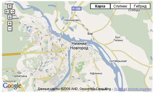 Пример карты Google с элементами управления