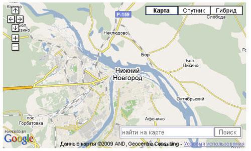 Пример API Карт Google c формой поиска