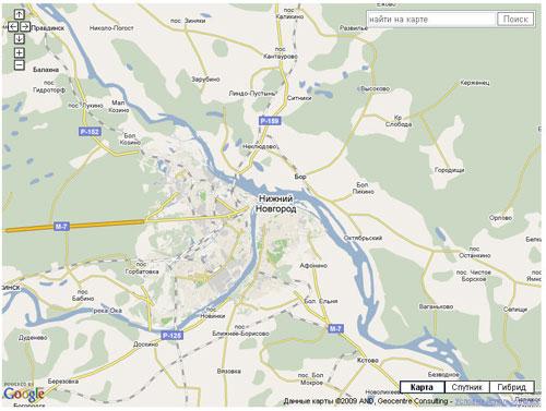 Пример API Карт Google c формой поиска - изменение положения элементов управления
