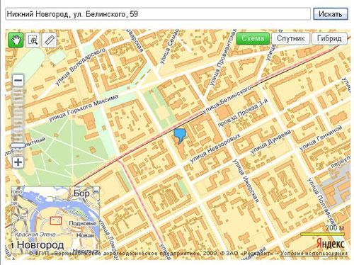 Пример Яндекс.Карты - Результат поиска