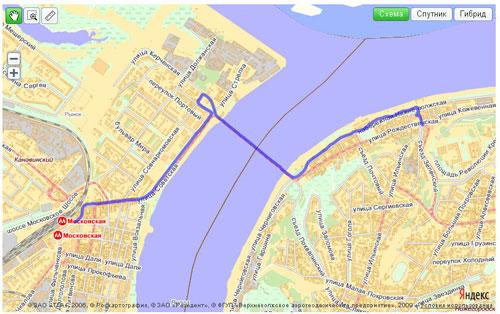 Яндекс.Карта с загруженным треком gpx