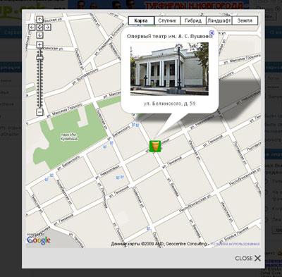Карта во всплывающем окне - Google Maps для Joomla