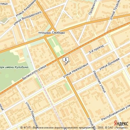 Пример использования Static API Яндекс.Карт - изображение карты Нижнего Новгорода с нумерованной меткой