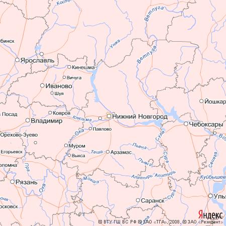 Пример использования Static API Яндекс.Карт - Область показа 5х5 градусов