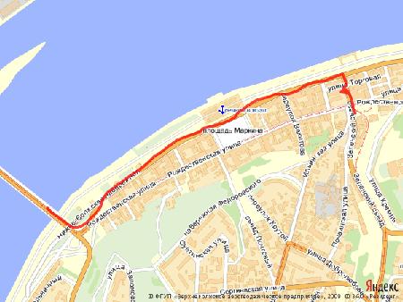 Пример использования Static API Яндекс.Карт - изображение карты с ломаной линией
