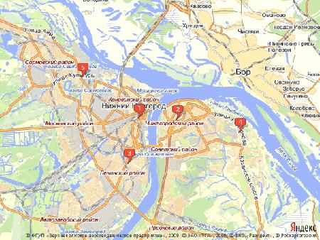 Пример использования Static API Яндекс.Карт - возможность позиционирования карты при помощи меток