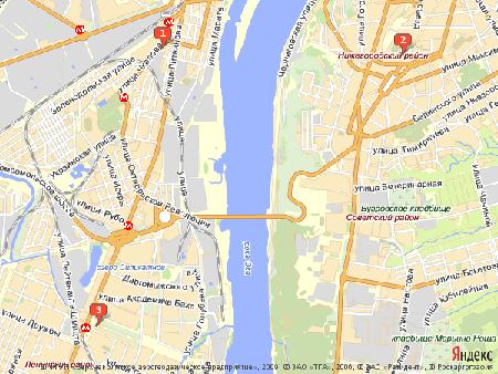 Пример использования Static API Яндекс.Карт - возможность позиционирования карты при помощи меток (без меток 4 и 5)