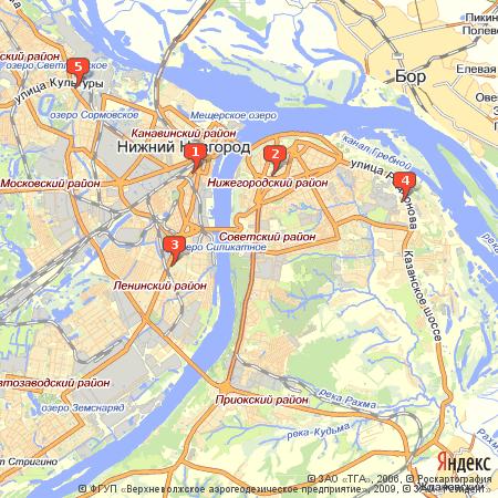 Пример использования Static API Яндекс.Карт - изображение карты с несколькими метками