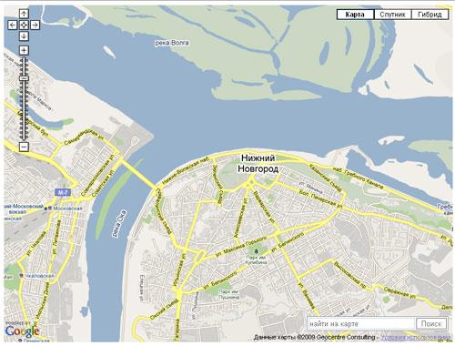 API Google Maps - форма поиска на карте