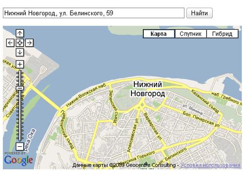 API Google Maps - поиск с использованием геокодирования