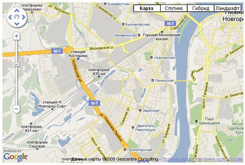 Пример карты с использованием Google Maps API v3