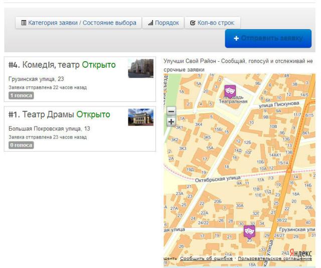 Компонент Improve My City + Яндекс.Карты - заявки из одной категории