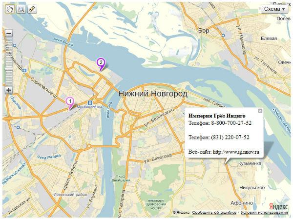 Загрузка YmapsML - API Яндекс.Карт 2.х. Первый пример - открытый балун