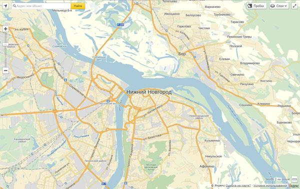 Пример создания карты с использованием API Яндекс.Карт 2.1.