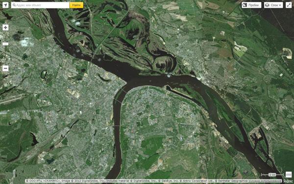Задем тип карты - Спутник. Пример создания карты с использованием API Яндекс.Карт 2.1.