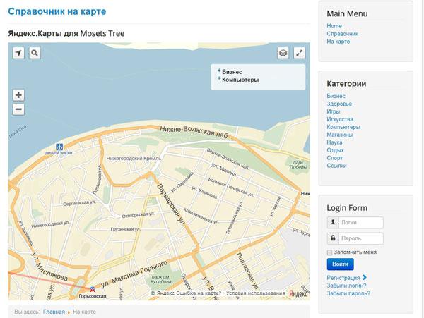 Модуль Яндекс.Карты для Mosets Tree