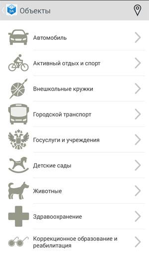 Электронный атлас от правительства Москвы -  список категорий